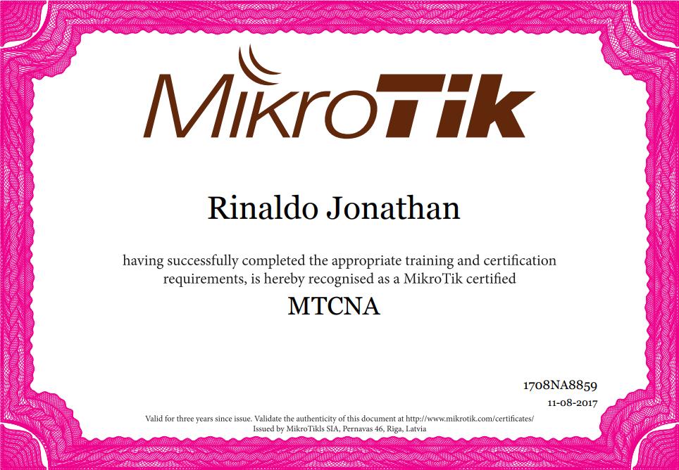 MikroTik Certified! – Rinaldo Jonathan